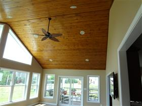 *AFTER* Inside Sunroom ceiling.  Tongue & groove stained wood ceiling.: