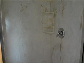 Inside shower stall: